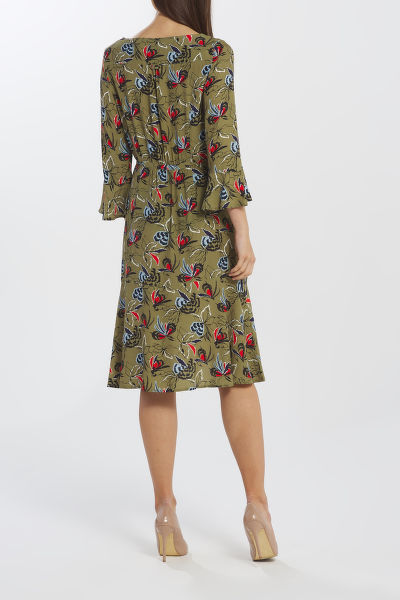 ?ATY GANT D1. FLORAL FLY FISH RUFFLE DRESS