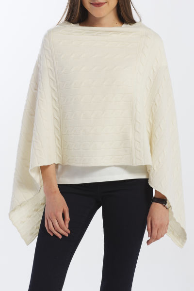 PONCHO GANT D2. LAMBSWOOL CABLE PONCHO