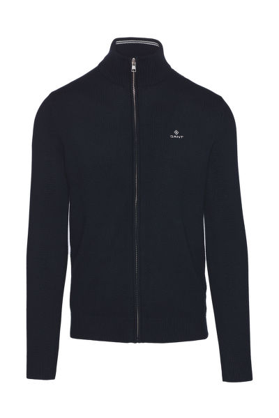SVETR GANT COTTON PIQUE ZIP CARDIGAN