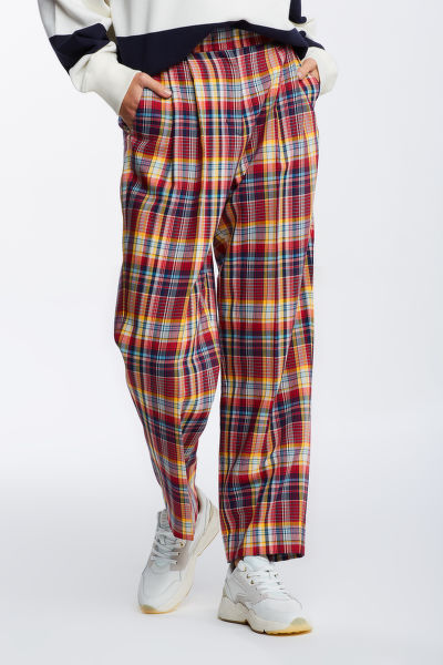 KALHOTY GANT D1. HW PLEATED CHECKED PANTS