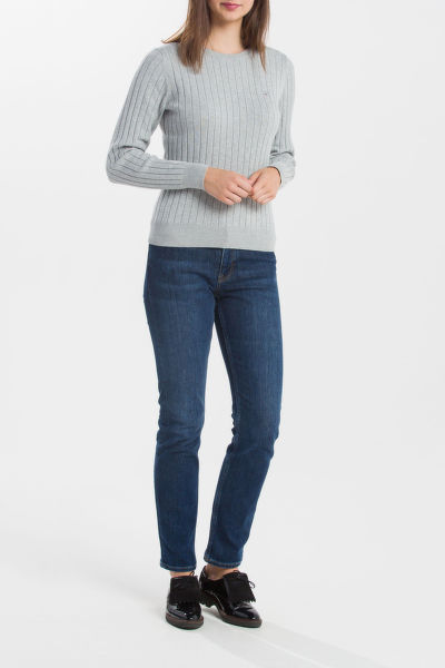 SVETR GANT O1. STRETCH COTTON RIB CREW
