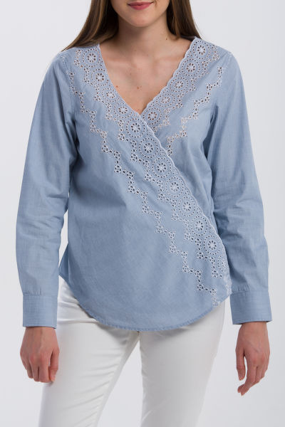 ING GANT O2. BRODERIE ANGLAISE WRAP BLOUSE