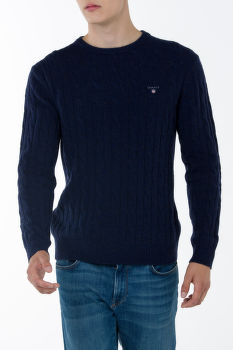 Kardigán GANT O1. NEPS LAMBSWOOL CABLE CREW