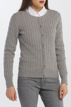 KARDIGÁN GANT STRETCH COTTON CABLE CREW CARDIGAN