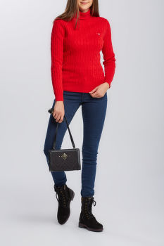 KARDIGÁN GANT STRETCH COTTON CABLE TURTLE NECK