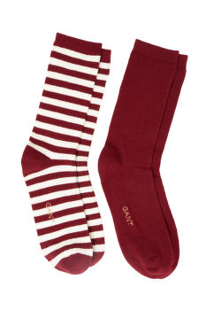 ZOKNI GANT D1. 2-PACK SOLID STRIPE RIB SOCKS