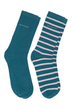 ZOKNI GANT D1. 2-PACK SOLID AND STRIPE SOCKS