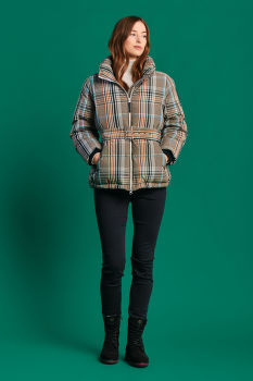 DZSEKI GANT D2. CHECKED BELTED DOWN JACKET