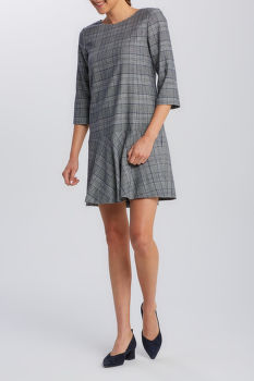 RUHA GANT D1. CHECKED FLARE DRESS
