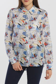 ING GANT D1. FLORAL FLY FISH COT SILK SHIRT