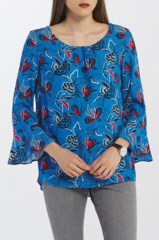 ING GANT D1. FLORAL FLY FISH PRINTED BLOUSE