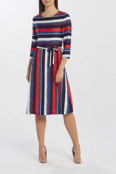 RUHA GANT D1. PREPPY STRIPE FLARED DRESS
