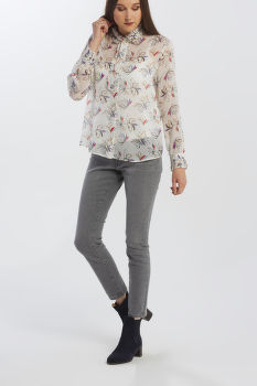 ING GANT D1. FLORAL CHIFFON BOW BLOUSE