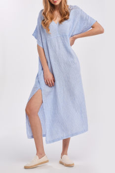 RUHA GANT D2. STRIPED LINEN KAFTAN DRESS